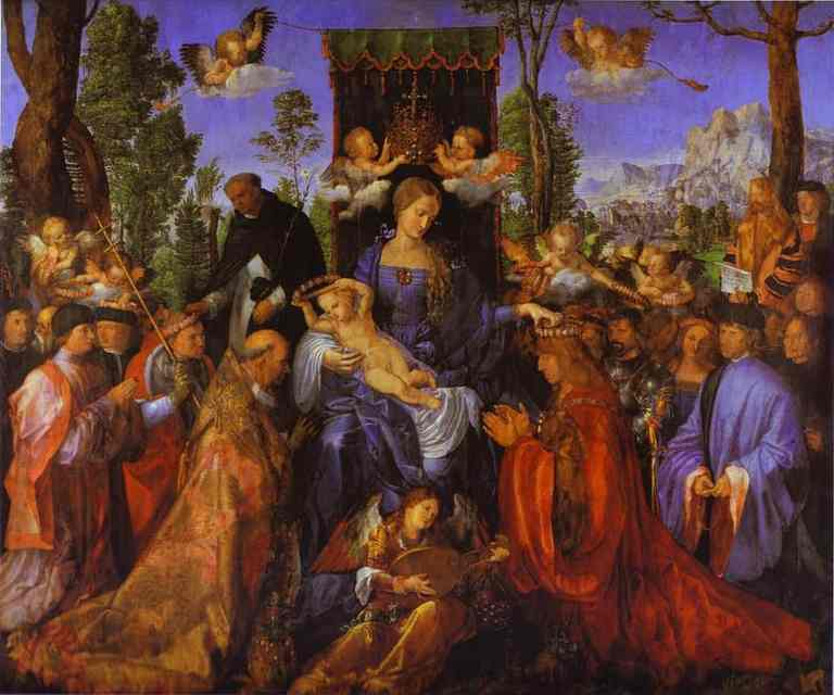 Buy Museum Art Reproductions | The Altarpiece of the Rose Garlands by Albrecht Durer | Most-Famous-Paintings.com