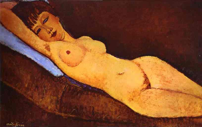 Order Reproductions | Reclining Nude with Blue Cushion by Amedeo Modigliani | Most-Famous-Paintings.com