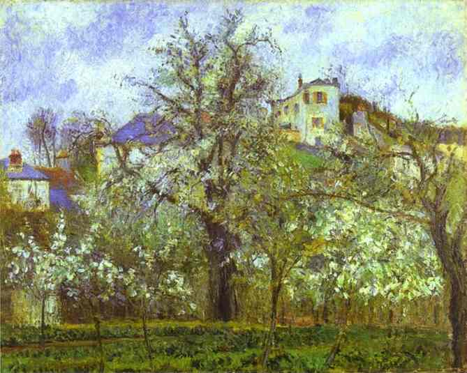 Buy Museum Art Reproductions | Vegetable Garden and Trees in Blossom, Spring, Pontoise by Camille Pissarro | Most-Famous-Paintings.com