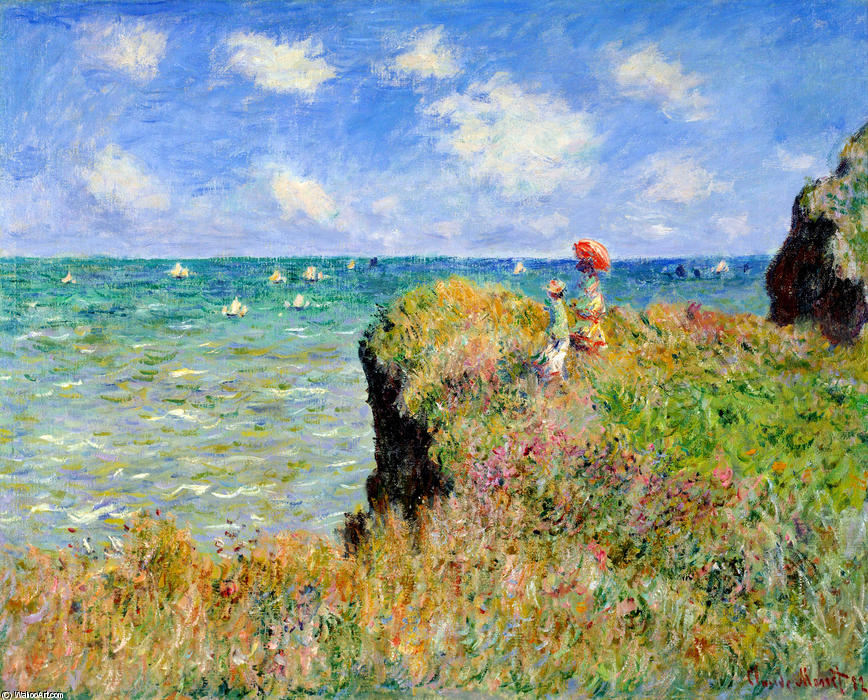 Order Reproductions | Clifftop Walk at Pourville by Claude Monet | Most-Famous-Paintings.com