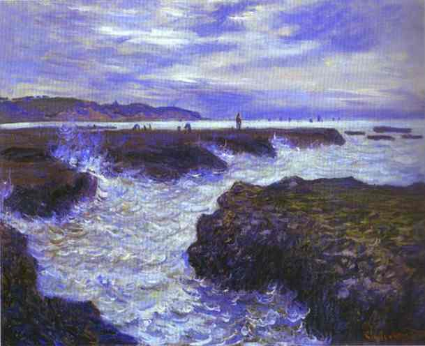 Order Art Reproductions | The Rocks near Pourville at Ebb Tide by Claude Monet | Most-Famous-Paintings.com