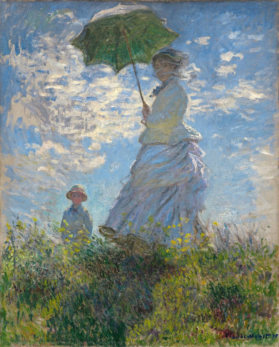 Order Reproductions | The Walk. Lady with a Parasol by Claude Monet | Most-Famous-Paintings.com