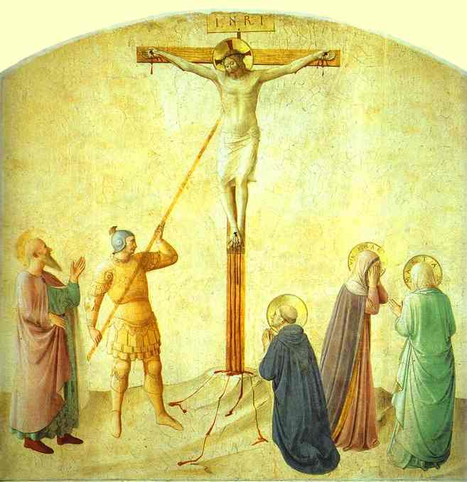 famous painting St. Dominic with the Crucifix - Piercing of the Christ's Side of Fra Angelico