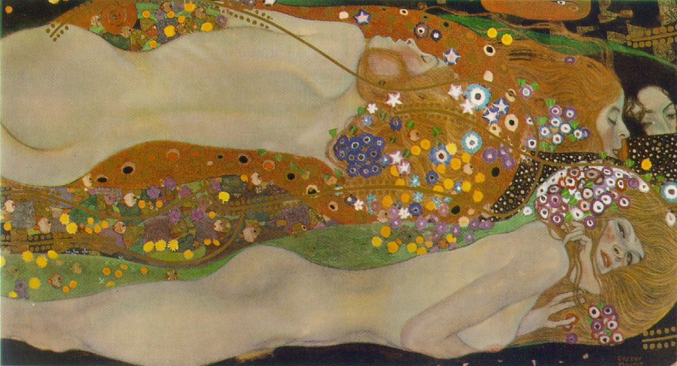 Buy Museum Art Reproductions | Water Serpents II (Bewegtes Wasser sfondo) by Gustav Klimt | Most-Famous-Paintings.com