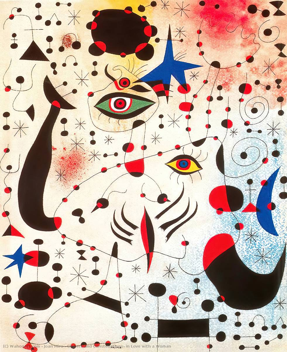 Buy Museum Art Reproductions | Ciphers and Constellations, in Love with a Woman by Joan Miro | Most-Famous-Paintings.com