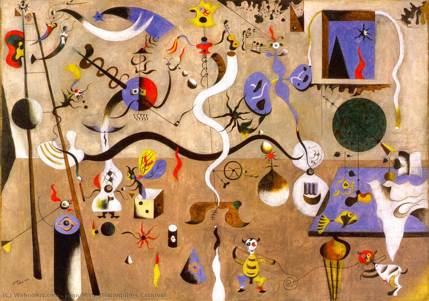 Order Paintings Reproductions | Harlequin's Carnival by Joan Miro | Most-Famous-Paintings.com