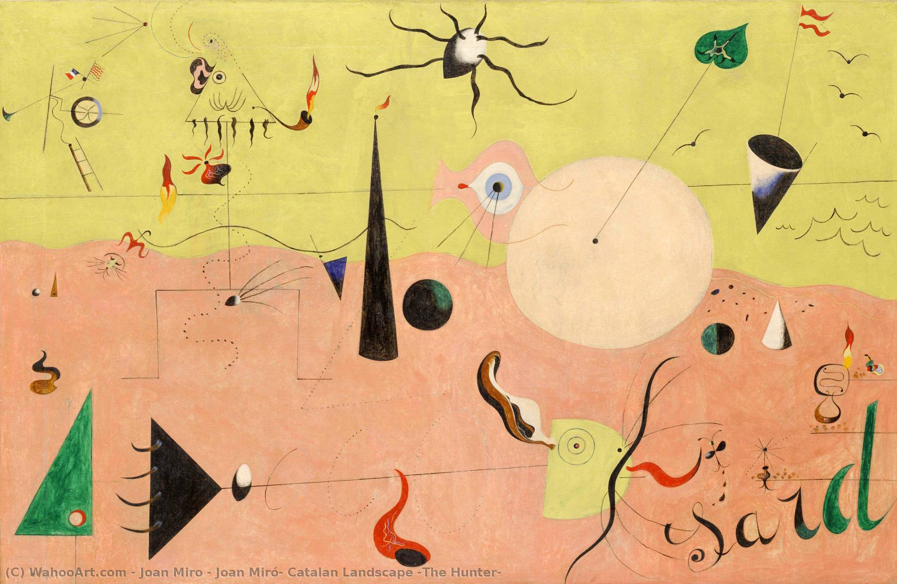 Buy Museum Art Reproductions | Joan Miró- Catalan Landscape (The Hunter) by Joan Miro | Most-Famous-Paintings.com
