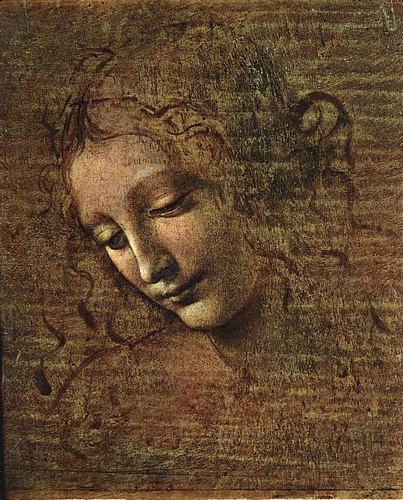 famous painting Head of a Tousled Young Woman of Leonardo Da Vinci