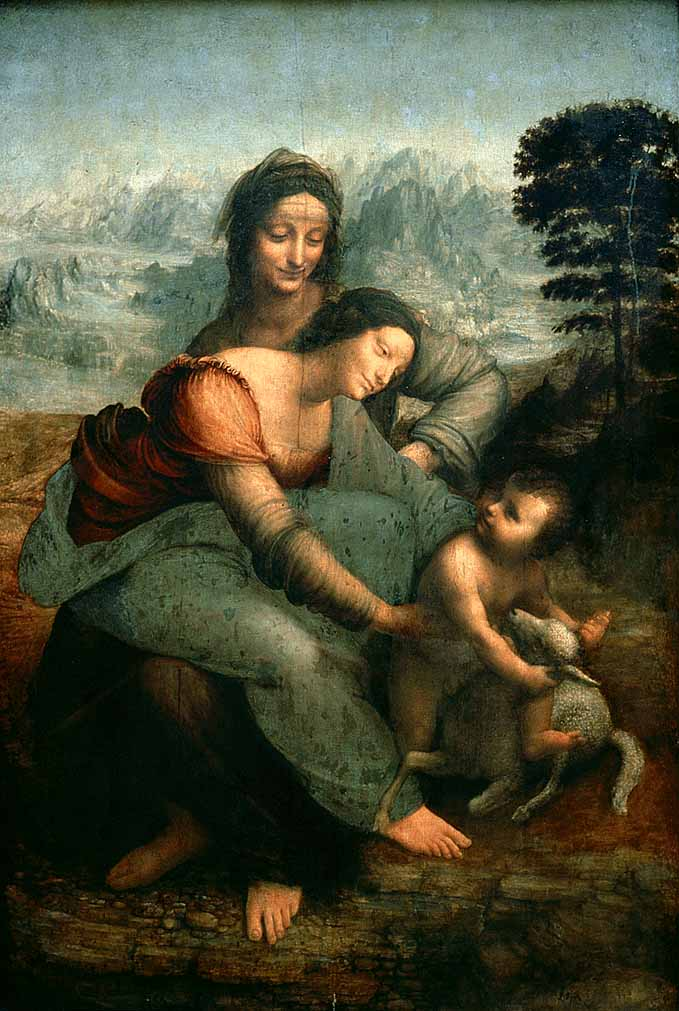 famous painting The Virgin and Child with Saint Anne of Leonardo Da Vinci