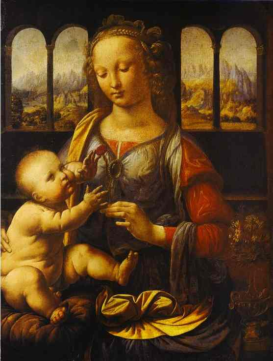 famous painting Madonna with the Carnation of Leonardo Da Vinci