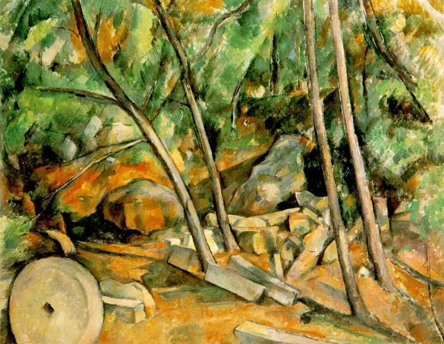 Buy Museum Art Reproductions | Woods with Millstone by Paul Cezanne | Most-Famous-Paintings.com