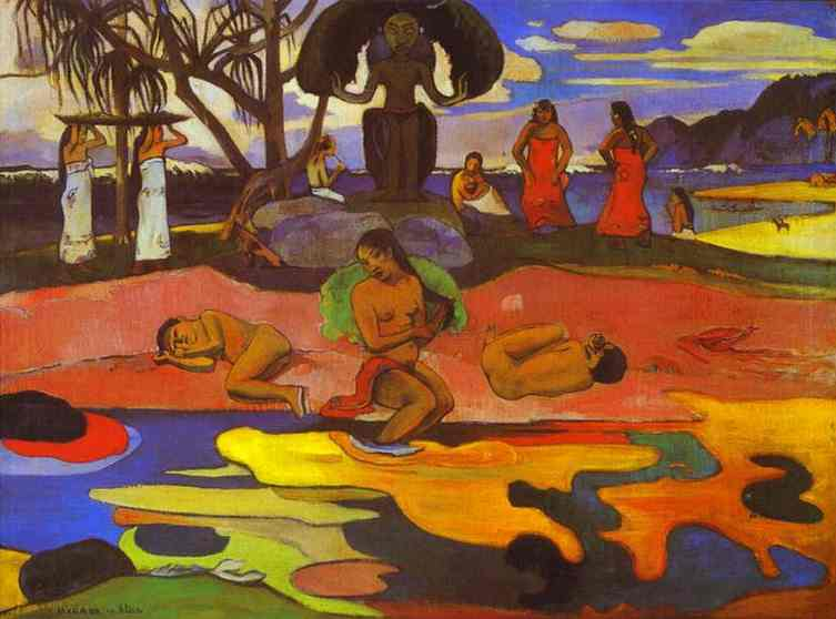 famous painting Mahana no atua (Day of God) of Paul Gauguin