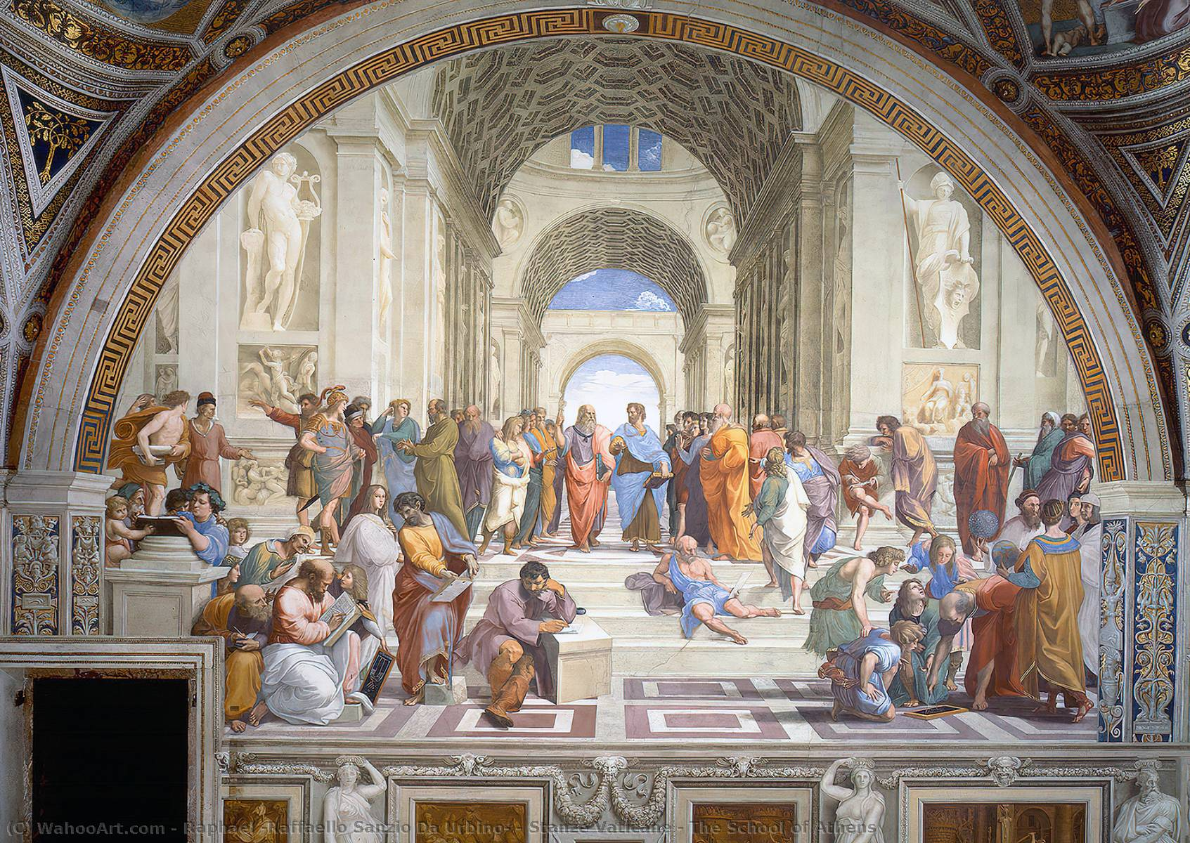 Buy Museum Art Reproductions | Stanze Vaticane - The School of Athens by Raphael (Raffaello Sanzio Da Urbino) | Most-Famous-Paintings.com