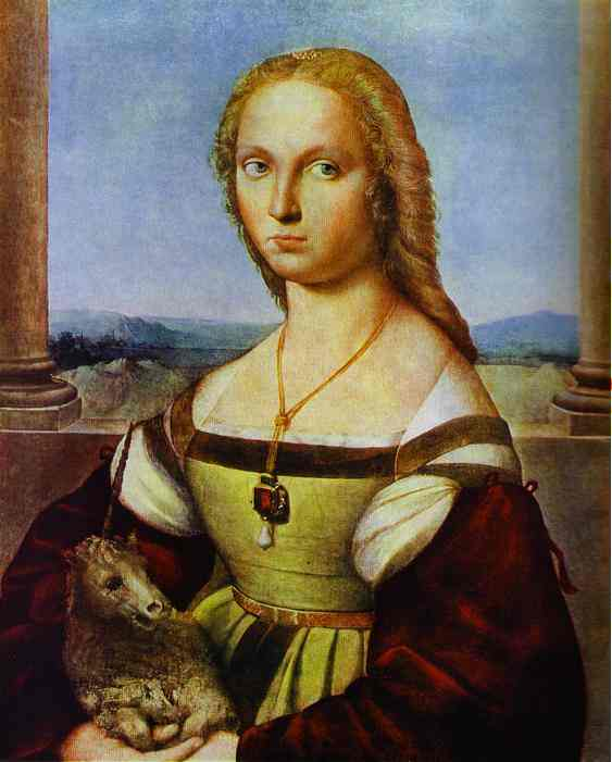 Order Paintings Reproductions | Portrait of a Lady with a Unicorn by Raphael (Raffaello Sanzio Da Urbino) | Most-Famous-Paintings.com