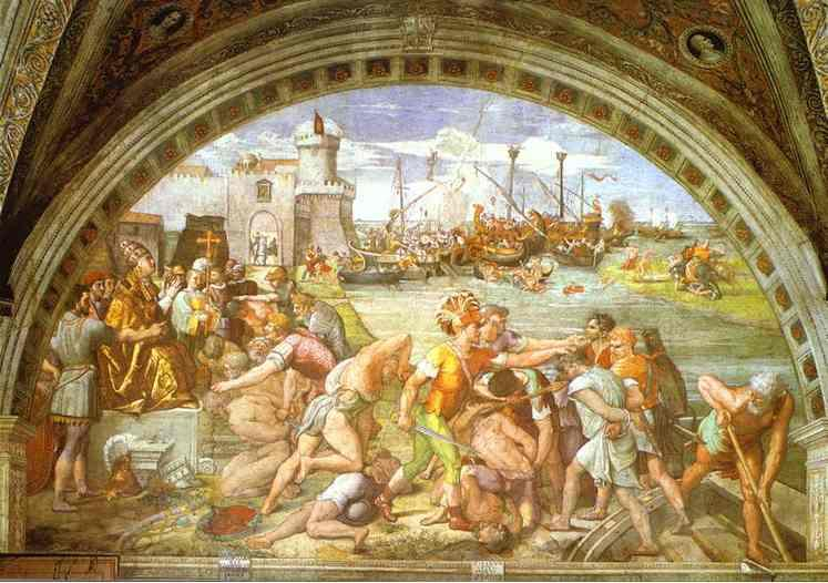 famous painting The Battle of Ostia of Raphael (Raffaello Sanzio Da Urbino)