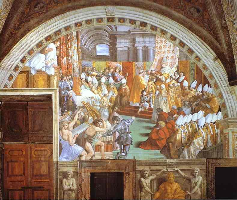 famous painting The Coronation of Charlemagne of Raphael (Raffaello Sanzio Da Urbino)