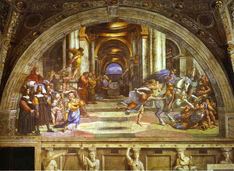 Order Reproductions | The Expulsion of Heliodorus by Raphael (Raffaello Sanzio Da Urbino) | Most-Famous-Paintings.com