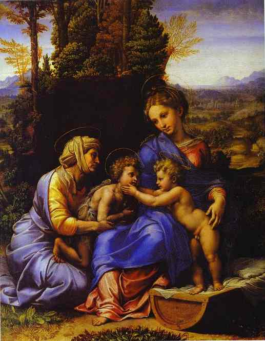 famous painting The Holy Family, known as Little Holy Family of Raphael (Raffaello Sanzio Da Urbino)
