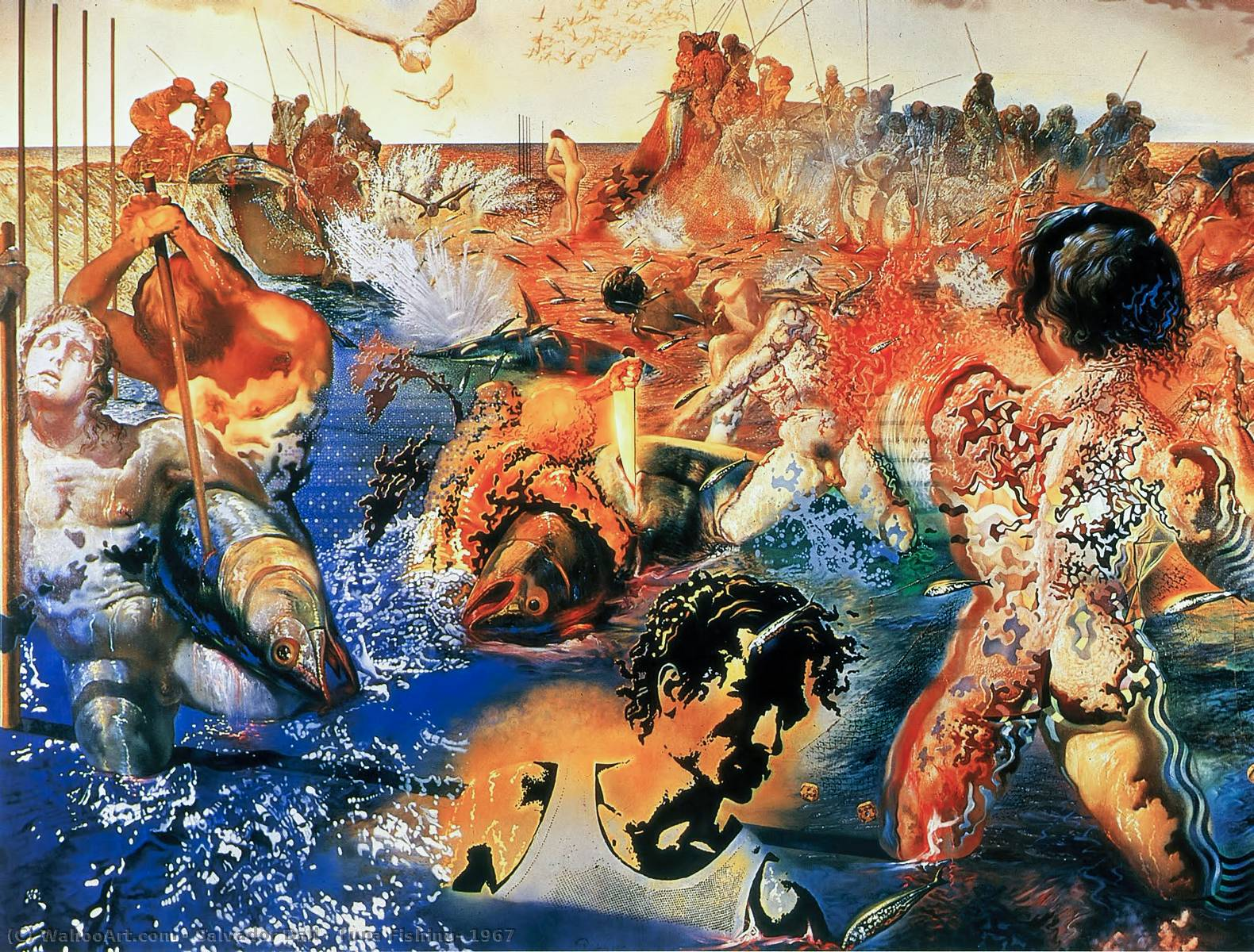 | Tuna Fishing, 1967 by Salvador Dali | Most-Famous-Paintings.com