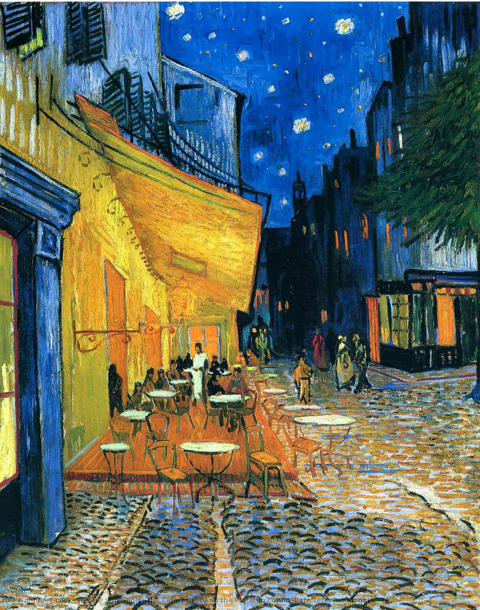 famous painting The Cafe Terrace on the Place du Forum (Cafe Terrace at night) of Vincent Van Gogh
