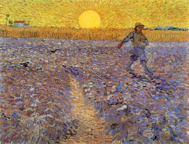 Order Reproductions | Sower with Setting Sun by Vincent Van Gogh | Most-Famous-Paintings.com