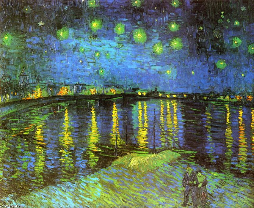 famous painting Starry Night Over the Rhone of Vincent Van Gogh