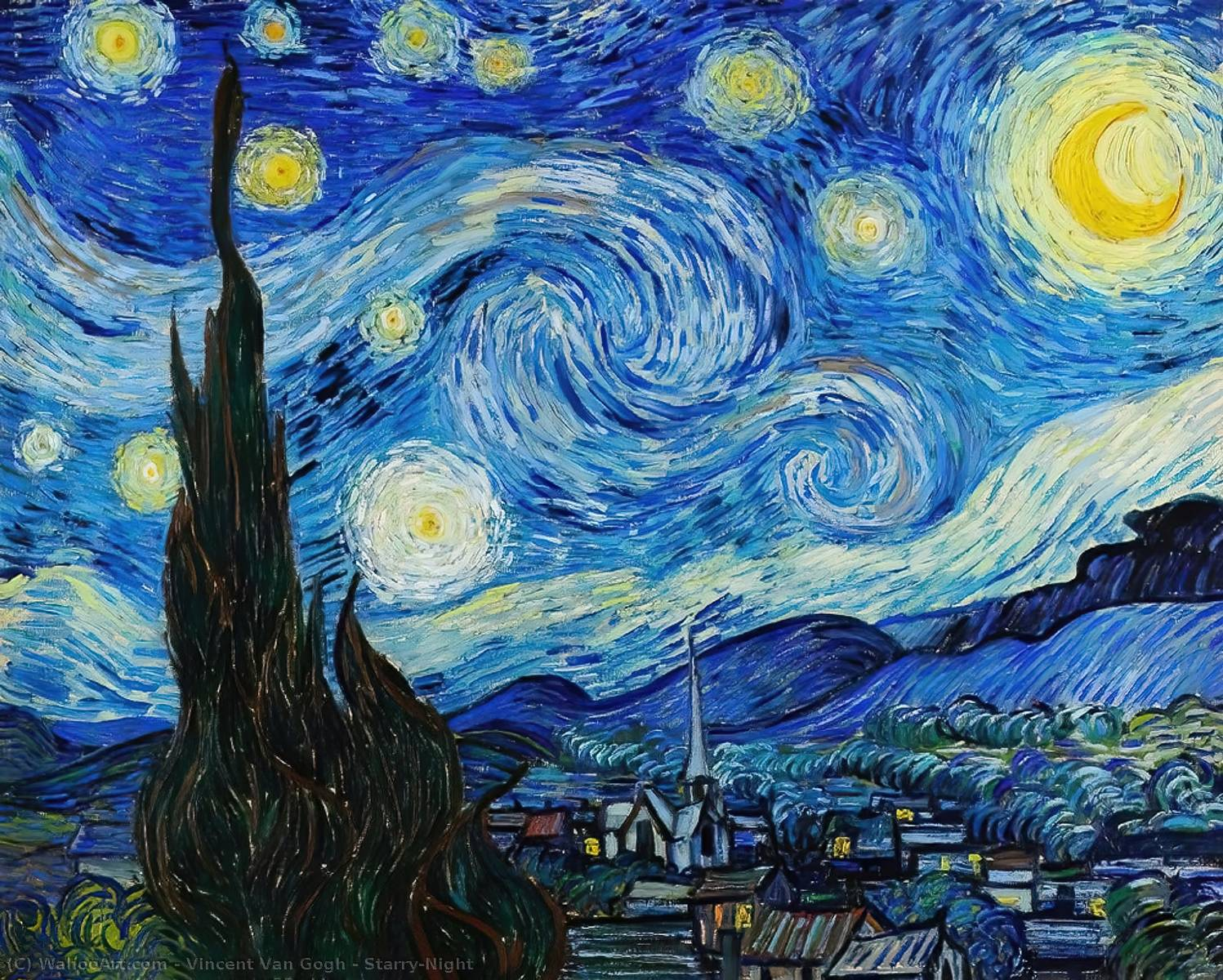 Order Paintings Reproductions | Starry-Night by Vincent Van Gogh | Most-Famous-Paintings.com