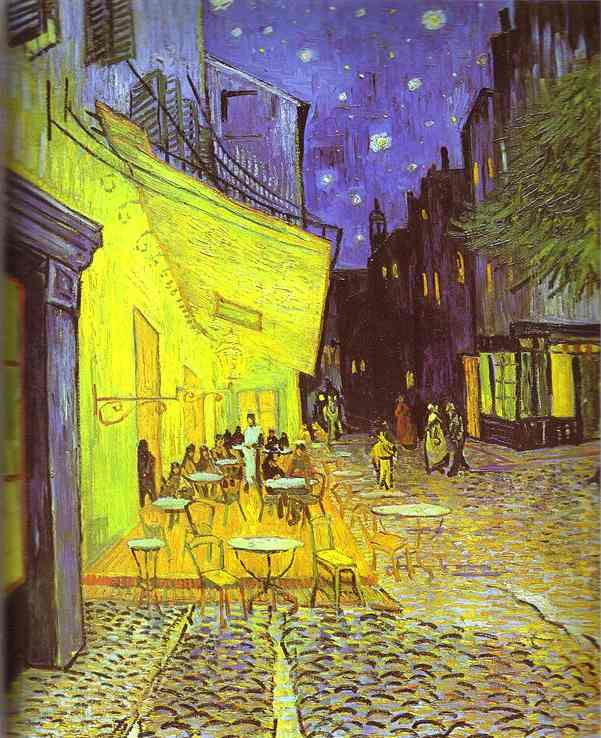 Café Terrace at Night by Vincent Van Gogh (order Famous Poster on canvas Vincent Van Gogh)