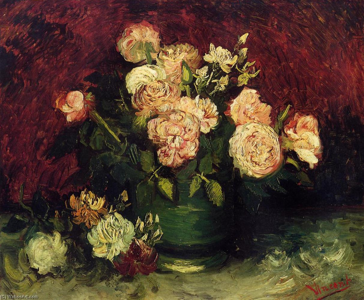 famous painting Bowl with Peonies and Roses of Vincent Van Gogh
