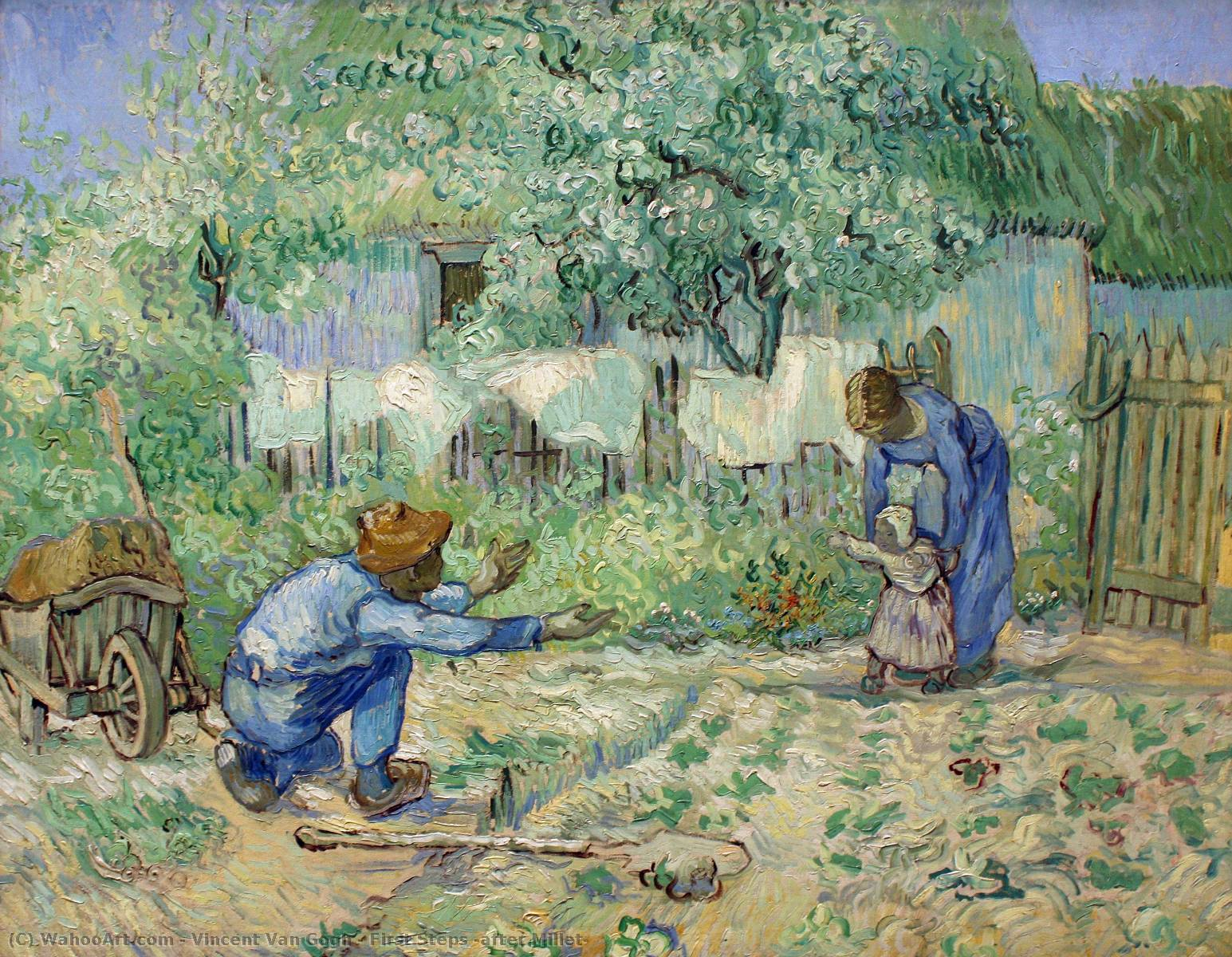 Buy Museum Art Reproductions | First Steps (after Millet) by Vincent Van Gogh | Most-Famous-Paintings.com