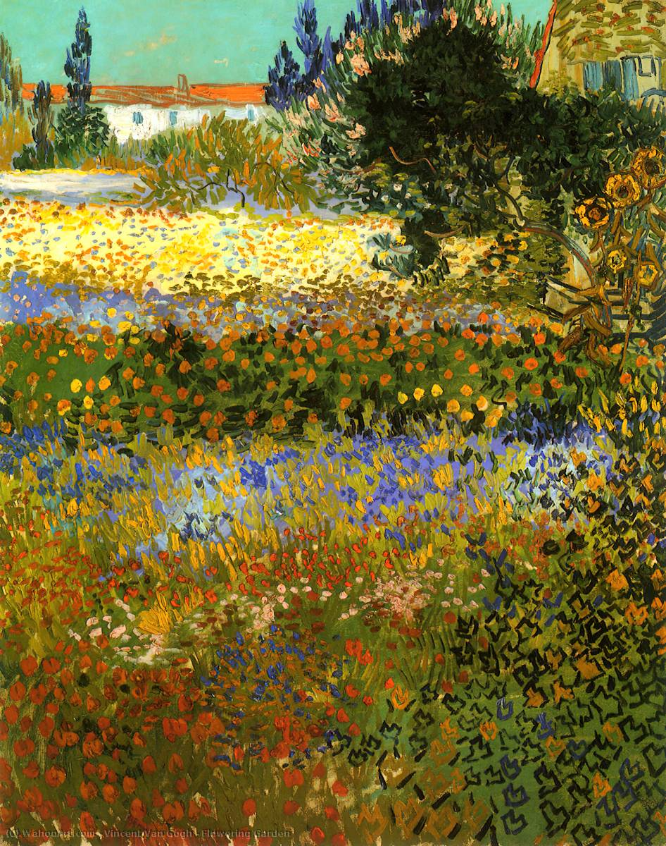 famous painting Flowering Garden of Vincent Van Gogh