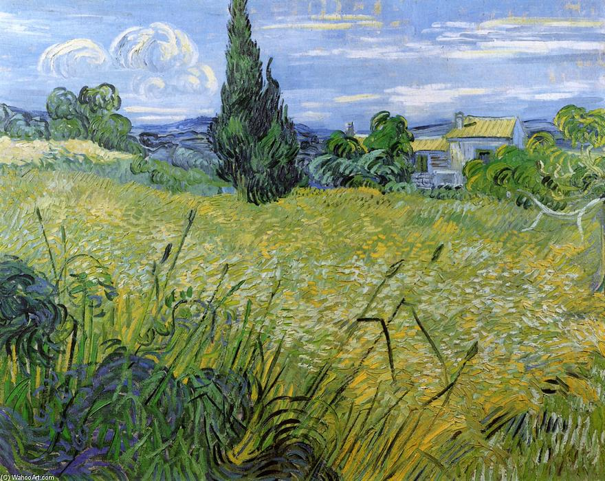 famous painting Green Wheat Field with Cypress of Vincent Van Gogh