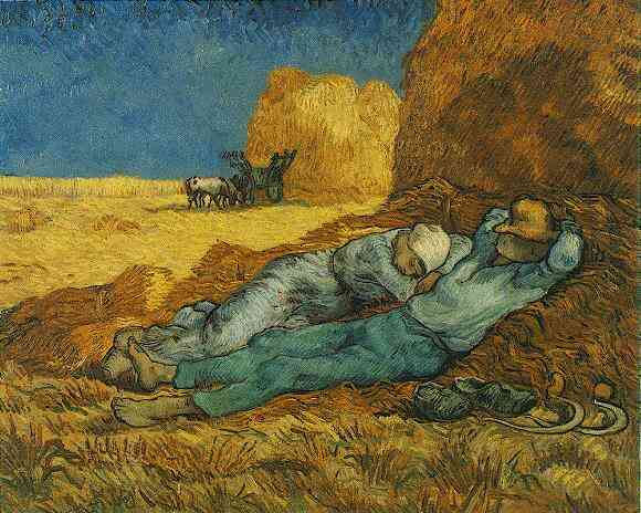 Order Art Reproductions : Noon Rest from Work after Millet by Vincent Van Gogh | Most-Famous-Paintings.com