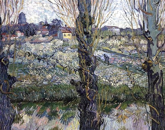 Order Reproductions | Orchard in Blossom with View of Arles by Vincent Van Gogh | Most-Famous-Paintings.com