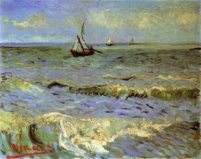Buy Museum Art Reproductions | Seascape at Saintes-Maries by Vincent Van Gogh | Most-Famous-Paintings.com