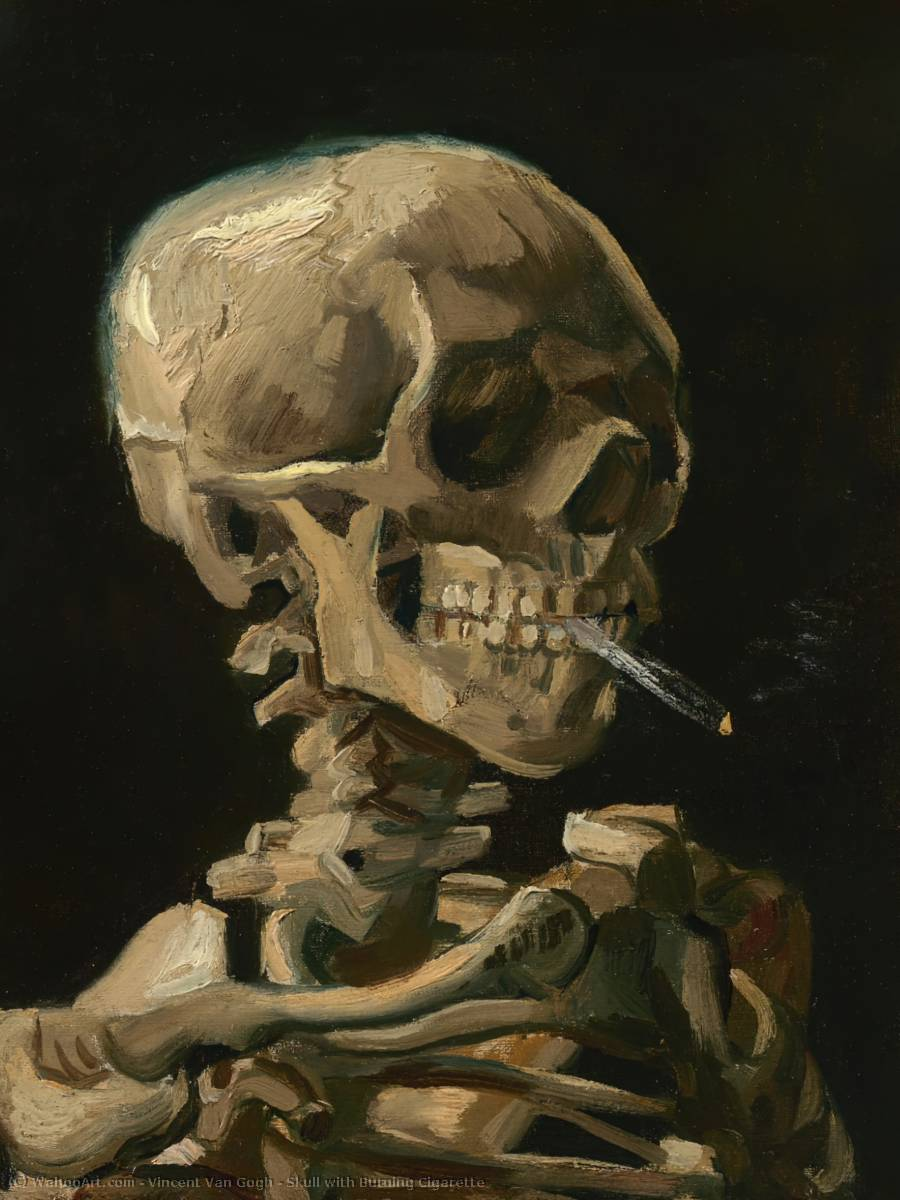 famous painting Skull with Burning Cigarette of Vincent Van Gogh