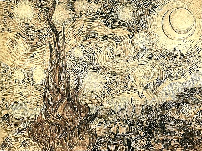 Order Art Reproductions | Starry Night drawing by Vincent Van Gogh | Most-Famous-Paintings.com