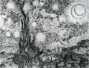 Vincent Van Gogh - Starry Night (Drawing)