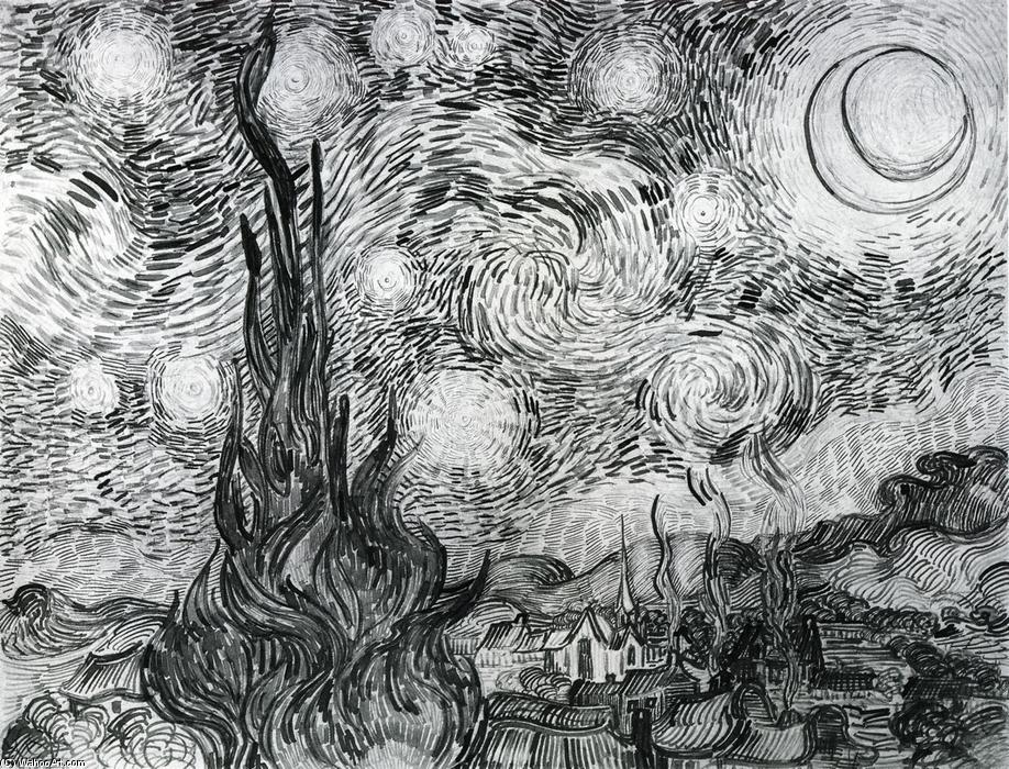 Order Museum Quality Copies | Starry Night (Drawing) by Vincent Van Gogh | Most-Famous-Paintings.com