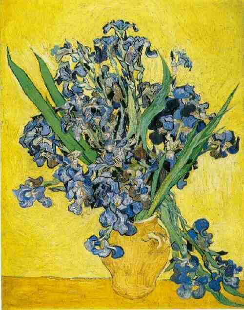 Buy Museum Art Reproductions | Still Life Vase with Irises Against a Yellow Background by Vincent Van Gogh | Most-Famous-Paintings.com
