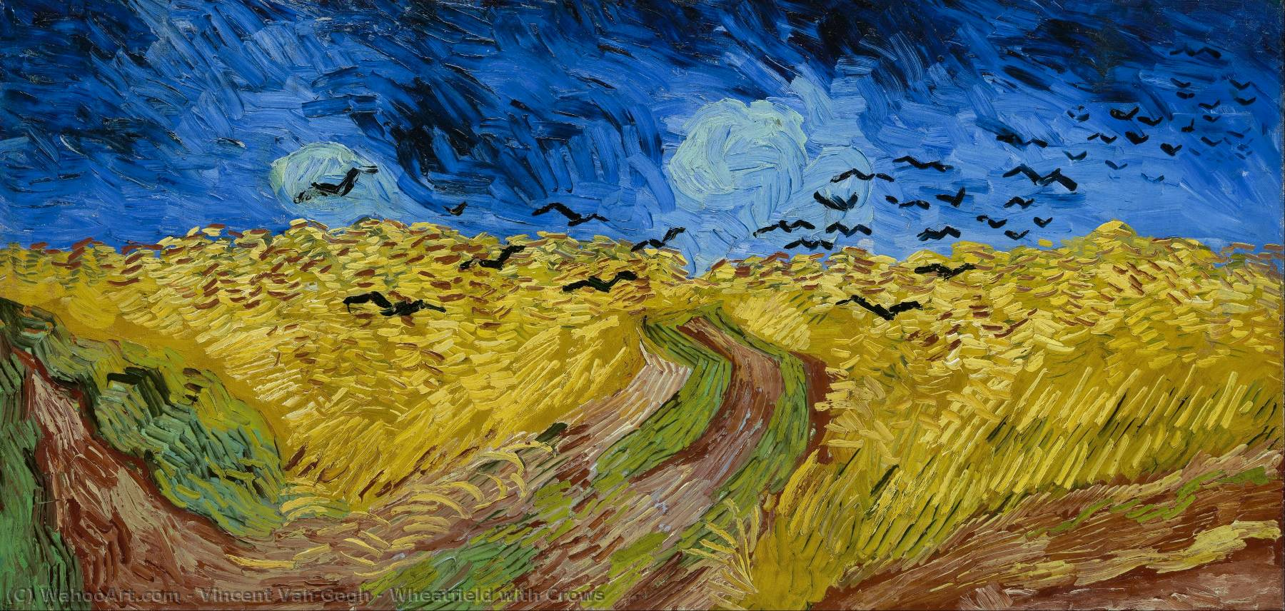 famous painting Wheatfield with Crows of Vincent Van Gogh