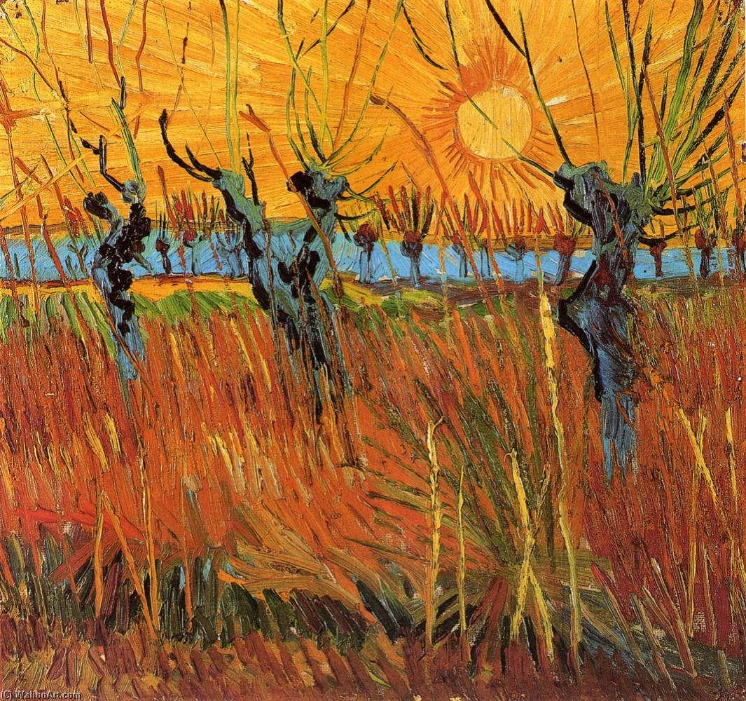 famous painting Willows at Sunset of Vincent Van Gogh