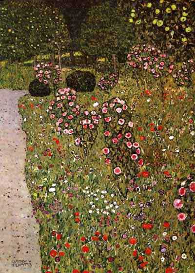 famous painting Fruitgarden with Roses, 1911 - 12 - Private Collection of Gustav Klimt