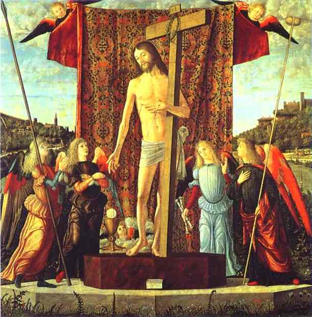 famous painting Christ with the Symbols of the Passion Surrounded by Angels of Vittore Carpaccio
