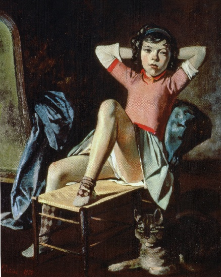 | Girl with Cat by Balthus (Balthasar Klossowski) | Most-Famous-Paintings.com