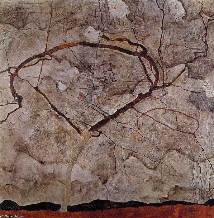 famous painting Autumn Tree in Movement of Egon Schiele