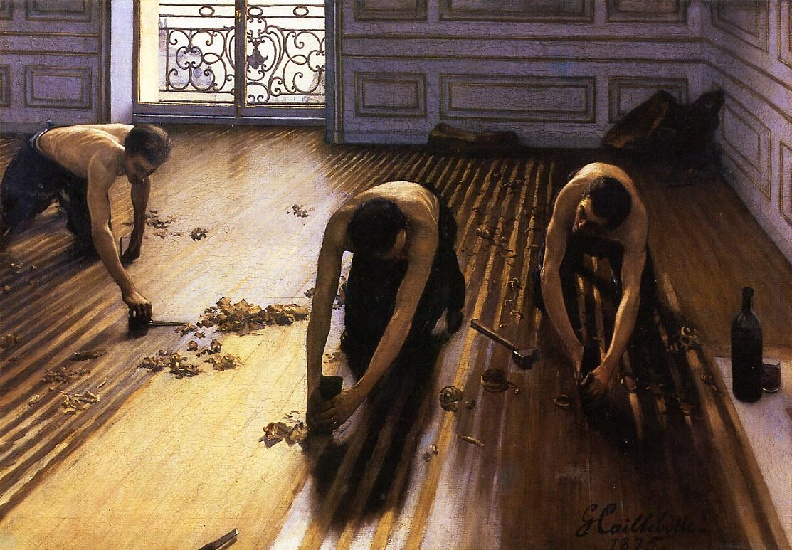 Buy Museum Art Reproductions | The Floor Scrapers aka The Floor Strippers by Gustave Caillebotte | Most-Famous-Paintings.com