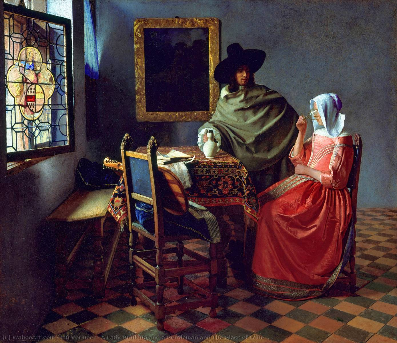 Order Museum Quality Copies | A Lady Drinking and a Gentleman and The Glass of Wine by Jan Vermeer | Most-Famous-Paintings.com