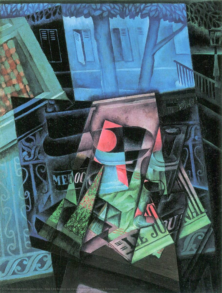 famous painting Still Life before an Open Window aka Place Ravignan of Juan Gris