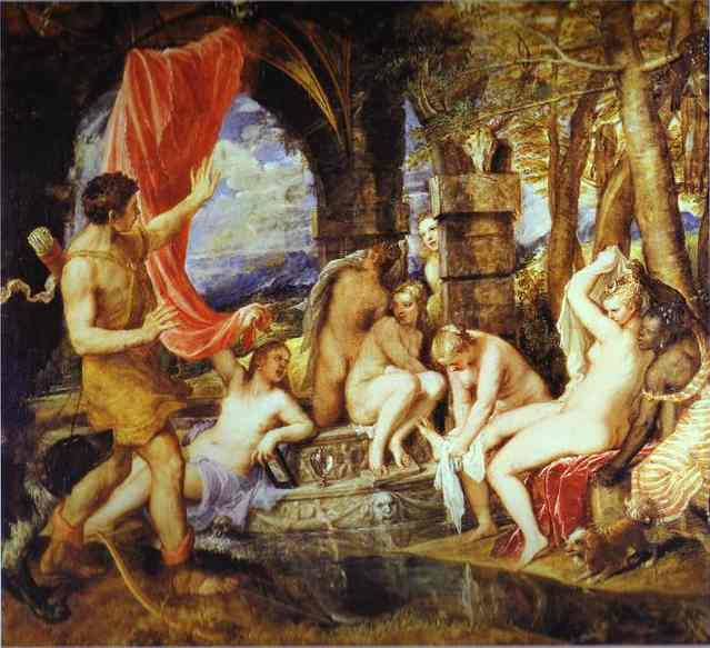 Buy Museum Art Reproductions | Diana and Actaeon by Tiziano Vecellio (Titian) | Most-Famous-Paintings.com